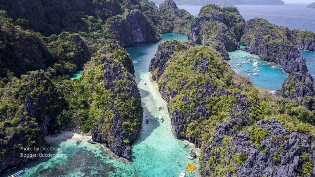 Toàn cảnh Big Lagoon từ trên cao nhìn xuống - Du lịch El Nido, Palawan