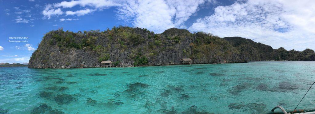Một cái ảnh panorama toàn cảnh Coral Garden từ thuyền - Du lịch Coron