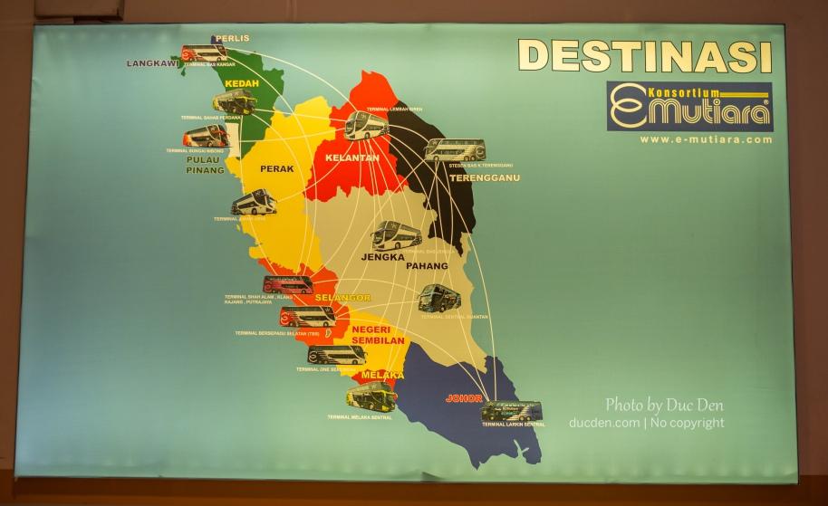 Bản đồ xe bus các bang ở Tây Mã Lai